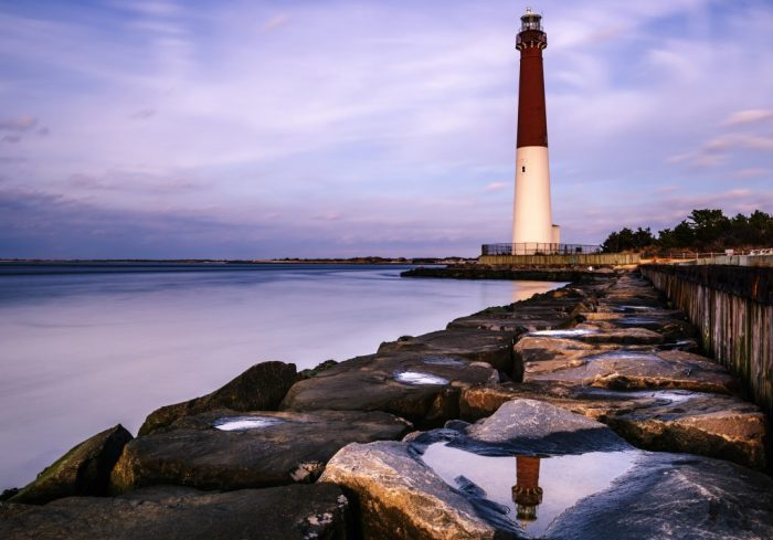 Lovely evening sky over the Barnegat lighthouse in New Jersey. Long exposure background
